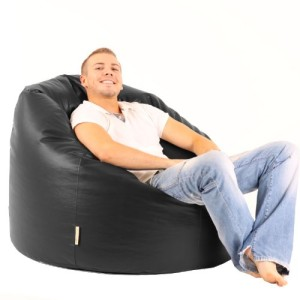 "XXXL Bean Bags Huge Mega Size BLACK ""Rio"" Bean Bag - Faux Leather BeanBag Gaming Chair - by Hi-BagZ®"
