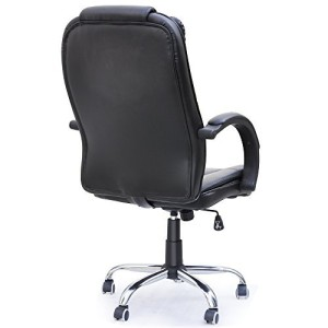Tinxs® High Back Executive Swivel Computer Desk Office Chair Faux Leather Black PC Chairs Home Office Recliners