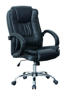 HNNHOME High Back Luxury 360 Degree Swivel Leather Executive Office Furnitue Computer Desk Seat Height Adjustable Office Chair (Black)