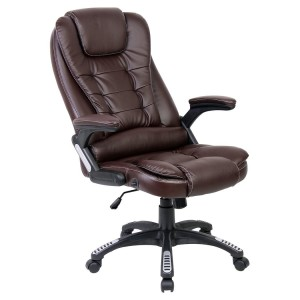RIO BROWN LUXURY RECLINING EXECUTIVE HIGH BACK OFFICE DESK CHAIR FAUX LEATHER SWIVEL