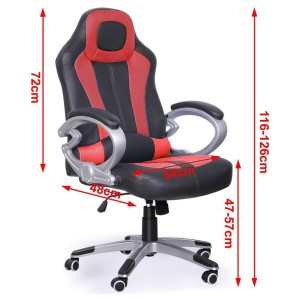 Tinxs 360°Luxury Racing Gaming Designer Office Chair Desk Chair Plus Reclining Function Adjustable Height 47-57cm
