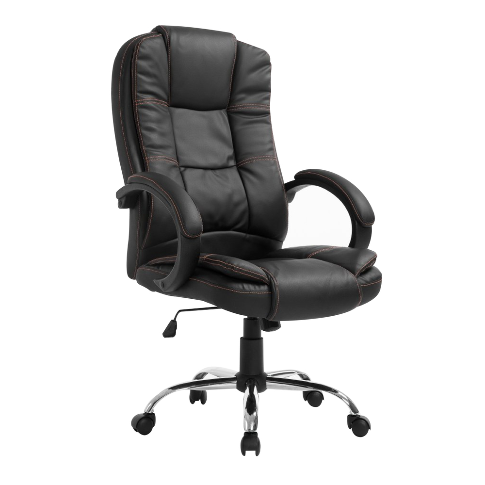 Modern Design High Back Leather Chrome Base Office Chair