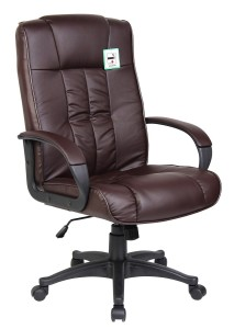 Tinxs Swivel Leather Executive Office Furnitue Computer Desk Office Chair Brown
