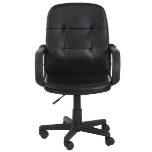 Miadomodo Office Swivel Chair (Black) Ergonomic Height Adjustable PU Leather Office Furniture