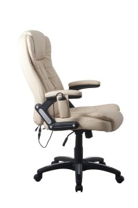 RayGar Luxury Faux Leather 6 Point Massage & Reclining Recliner Office Chair 360 Swivel High Back Computer Desk Study