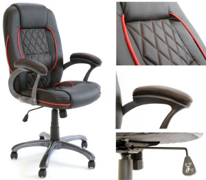 Charles Jacobs Premium Quality Executive Chair in Black Business Office Seat with Tilt Lock Mechanism