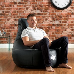 i-eX® Gaming Chair -Faux Leather - Man Size Gaming Bean Bag - Great for a Gamer (Steel/Black)
