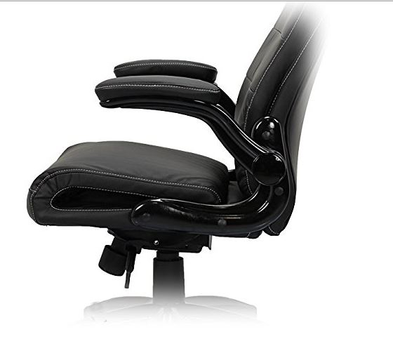 eMarkooz (TM) Office Computer Desk chair swivel PC office chair Tilt Function Padded Adjustable Height PU Leather fine fabric (Padded Black Chair with Neck Support)