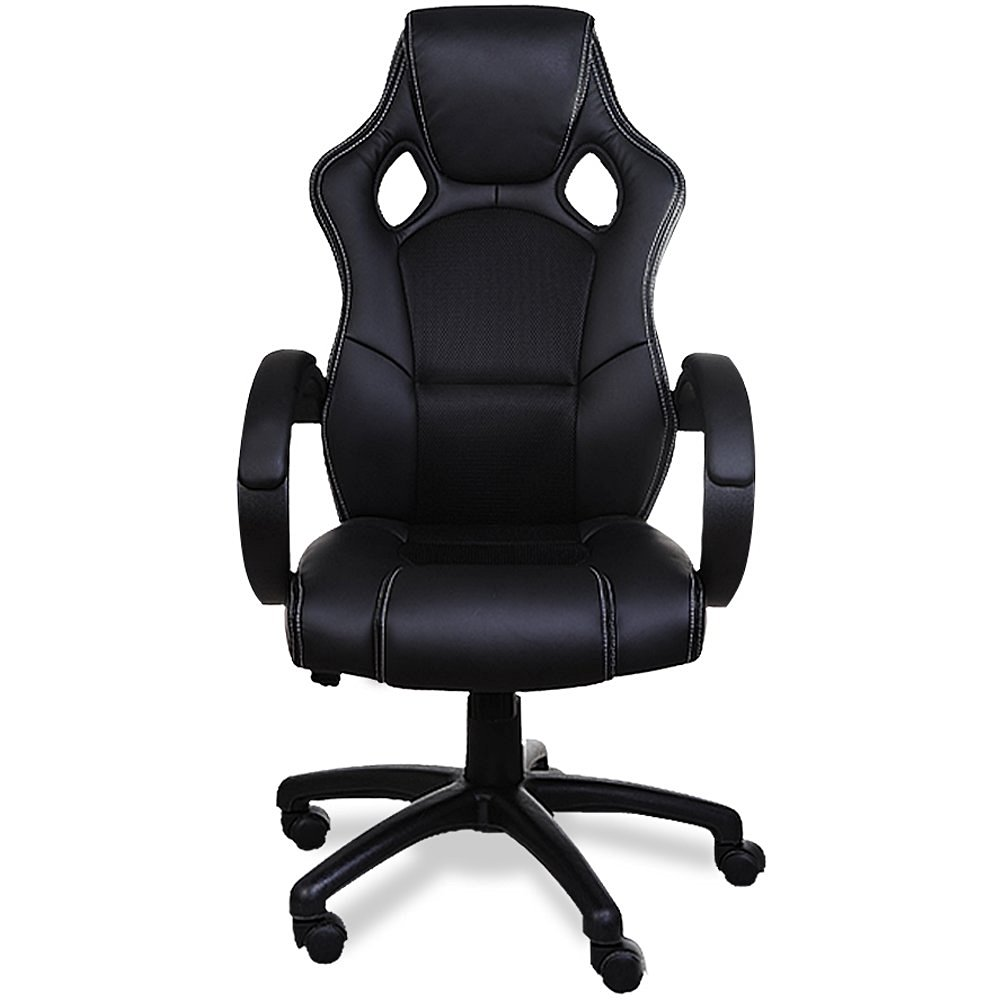 Deuba black office desk pu leather computer racing gaming for Swivel chairs for office